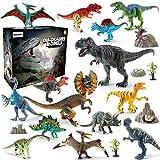 BeebeeRun 21PCS Dinosaurier Spielzeug Set,Realistische Dinosaurier Figuren Modell für Kinder Jungen...