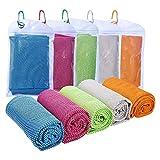 Cooling Towel, 30×90cm Kühlendes Fitness Handtuch, 5er Selbstkühlendes Handtuch Microfaser...