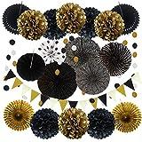 Partydekoration, 21 Stück schwarz und Gold hängende Papierfächer, Pom Poms Blumen, Girlanden...