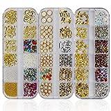Mwoot Steinchen Set für Nageldesign (3 Boxen), Gemischte Glitzersteine (900Stk) Fingernägel...