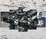 5 Stück Leinwand Wandkunst 5 Stück HD Riesenmalerei Automotor W16. Leinwand Malerei Wandkunst Bild...