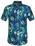 SSLR Herren Hemd Kurzarm Hawaii Hemd Männer Sommer Hemden für Herren (Large, Blue)