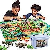 Buyger 58 Stück Dinosaurier Spielzeug Set mit Spielmatte Bäume, Dinosaurier Figuren...