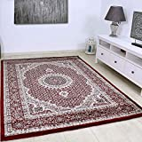 VIMODA Teppich Klassisch Gemustert Kreis, sehr dicht gewebt, Orient Muster in Rot - Top Qualität,...