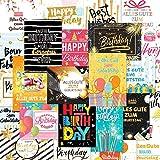 24 Holographic Glückwunschkarten im Sortiment, 24 Designs Geburtstagskarten Packung mit 24...