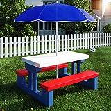 Deuba Kindersitzgruppe mit Sonnenschirm   Picknickset   Tisch und Bnke   Sitzgruppe Kindermbel...