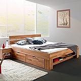 moebelstore24 Bett Futonbett Kernbuche-massiv geölt 140x200 cm inkl. 4 Bettkasten auf Rollen und...