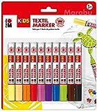 Marabu 0314000000002 - Kids Textilmarker Set mit 10 kräftigen, leuchtenden Farben, Kinder...