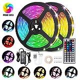 LED Streifen 10M, VOYOMO LED Strips RGB 300LEDs SMD5050, 20 Farben mit 44 Tasten IR-Fernbedienung,...