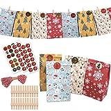 Adventskalender zum Befüllen, 24 Kraftpapiertüten 2020 Geschenk Papiertueten für Weihnachten...