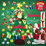 Reccisokz IT DIY Filz Weihnachtsbaum 3.1ft mit 30 Ornamenten Wandbehang mit 12.7ft / 50 LED-Leuchten...
