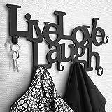MIADOMODO Metall Wandgarderobe mit 6 Haken - 48 x 23 x 3 cm – Live, Love, Laugh - Garderobenhaken,...