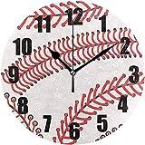 L.Fenn Baseball Sport Softball Runde Wanduhr, Silent No Ticking-Dekorative Batteriebetriebene Uhr...