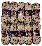10 x 50 Gramm Strickwolle Himalaya Rossi mit Tupfer, 500 Gramm Wolle zweifarbig zum Stricken (Taupe...