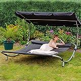 Loywe Sonnenliege Doppelliege mit Dach für 2-Personen Doppel Gartenliege mit Sonnendach für Garten...