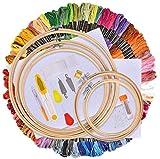 AUSHEN Stickerei Set, Stickerei Starter kit, Kreuzstich Tool Kit Einschließlich 100 Farbfäden, 5...