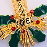 chiwanji Mode Niedliche Weihnachtskerze Holly Blätter Crystal Brosche Pin Holiday Party