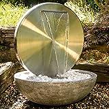 Köhko® Wasserwand Ø 55 cm mit Einer Halbschale in Natursteinoptik mit LED- Beleuchtung...