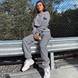 PPangUDing Sportswear Sets Jogginganzug Damen Mode Langarm Slim Fit Normallack Crop Pullover...