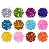 12 Döschen Nailart Glitzerpuder Glimmer Glitter Glitterstaub Set 001 in verschiedene irisierenden...