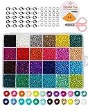 Mini Glasperlen Run Farben Perlen zum Basteln, 2 mm mit 24-Gitter Aufbewahrungsbox für...