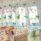 Amazingdeal365 idyllische bunte Schmetterling Voile Gardinen Schal 2 m *1m Set für Schlafzimmer...
