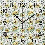 rainbowpig Boho Horn Federn Sunflowers Muster Silent Square Wanduhr, 8-Zoll-Batteriebetriebene Quarz...