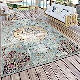 Paco Home In- & Outdoor Teppich Modern Orient Print Terrassen Teppich Türkis, Grösse:60x100 cm