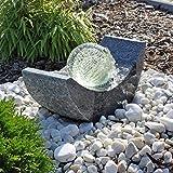 CLGarden Granit Springbrunnen SB15 mit drehender Glaskugel und LED Beleuchtung Gartenbrunnen...
