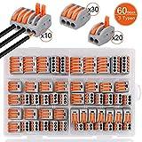 60 Stck Verbindungsklemme,DIAOPROTECT Klemmen Set,3 verschiedene Typen Steckklemmen,20 Stck Klemme 2...