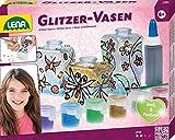 Lena 42693 Bastelset Glitzer-Vasen, Komplettset mit 3 kleinen Flacons aus Kunststoff, 6 glitzernden...