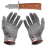 Austernöffner-Set : Austernmesser und Schnittschutzhandschuhe (Küche Gartenarbeit) (Mittel)