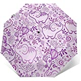 Purple Elephants Travel Umbrella Sonnenschirm-Lightweight Windproof Sunscreen Umbrella-Auto Öffnen...
