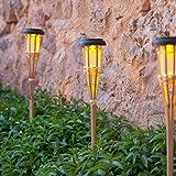 Lights4fun 6er Set LED Solar Bambus Gartenfackeln 58cm
