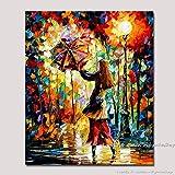 AHHMT Handgefertigtes Regenmädchen-Palette, bunt, Ölgemälde auf Leinwand, Moderne abstrakte...