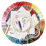 JOZEA Stickerei Kreuzstich Set 100 PCS Stickgarn Mehrfarbigen 5 Bambus Stickrahmen 2 Stoff Bestickt...