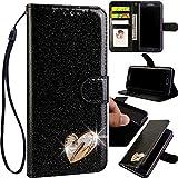 Bling Leder Bookstyle Hlle fr Samsung A51,Glitter Glitzer Diamond Musterg Slim Retro Flip Wallet...