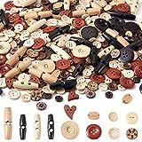 Cheriswelry Holzknöpfe mit 2 und 4 Löchern zum Nähen, Basteln, Dekoration, 400 Stück