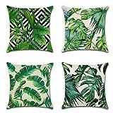 JOTOM Grn Pflanze gedruckt Muster Kissenbezug 4er Set Leinen-Baumwoll atmungsaktiv Kissenhlle...