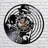 JNZART Jazz Musik Saxophon Player Silhouette Wanduhr Silent Quartz Modern Design Vinyl Schallplatte...