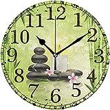 Eileen Max Wanduhr Spa Quiet Stone Bambuskerze Runde Acryluhr Schwarz Große Zahlen Uhr Dekorativ