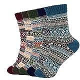 shengo 5 Paar Damen Winter Warme Socken Damen Winter Wollesocken Stricksocke Damen Bunte Farbe...