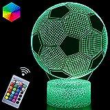 Fußball 3D Nachtlicht, Fußball Spielzeug für Jungen, 3D Illusion Lampe mit 16 Farben Ändern und...