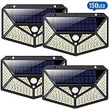 【4 Stück】Solarleuchten für Außen 150 LED, HETP【6 - Seitliche-Beleuchtung】Solarlampen für...