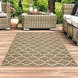 Outdoor-Teppich Flachgewebe Teppich Terrasse Balkon, Modern mit Geometrischen Muster in Beige für...