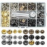 120Sets Druckknopf Set, BALFER Kupfer Druckknöpfe Metall Bronze Kleidung Snaps Taste mit...