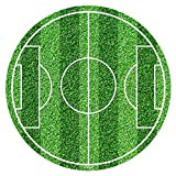 Runder Tortenaufsatz, Fußballfeld, 20cm, aus essbarem Zucker. Von Dekora.