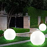 3x LED Solar Kugel Leuchten Garten Lampen Auen Beleuchtung Erdspie Strahler D 20, 25, 30 cm
