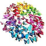 Foonii® 72 PCS 3D Schmetterlinge Wanddeko Aufkleber Abziehbilder,schlagfestem Kunststoff...