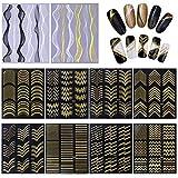 10 Blatt Nagelaufkleber,Nail Art Aufkleber,Nagelsticker,Gold Metal 3D Nail Sticker Design...